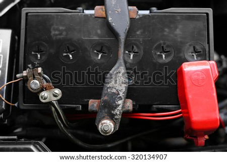Battery in terminal with wire circuit - stock photo