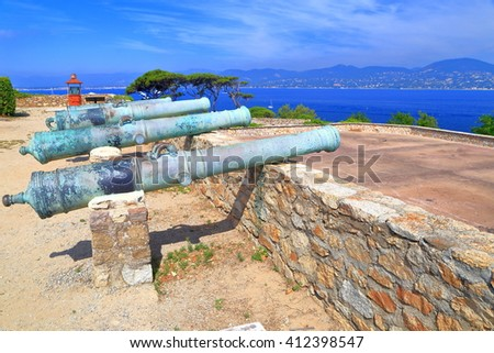 Battery of bronze canons aimed to the sea at Saint Tropez fortress, French Riviera, France - stock photo