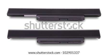Battery of laptop isolated on white. Clipping path included. - stock photo