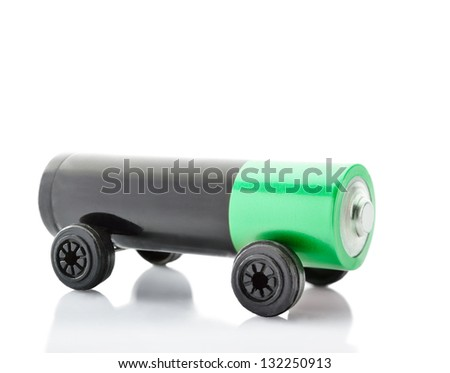 Battery on wheels like a car or electric vehicle - stock photo
