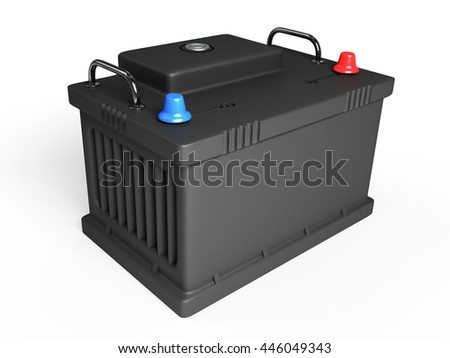 battery on white background 3D - stock photo