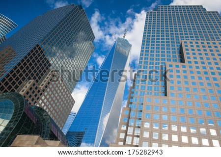 BATTERY PARK, NEW YORK, USA - JULY 30: Battery Park is a 25 acre public park located at the Battery, the southern tip of Manhattan Island in New York City, July 30, 2013 - stock photo