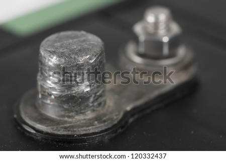 Battery terminal of 12V leisure battery. - stock photo