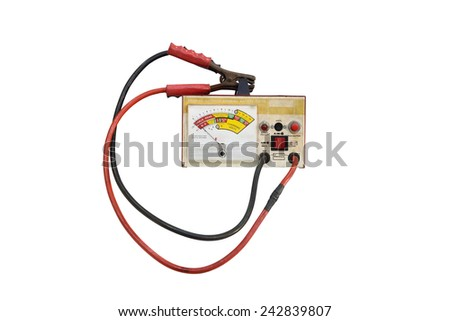 battery tester isolated on a white background - stock photo