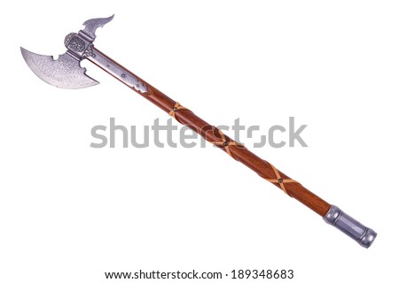 Battle axe displayed by diagonal, isolated on white background. - stock photo