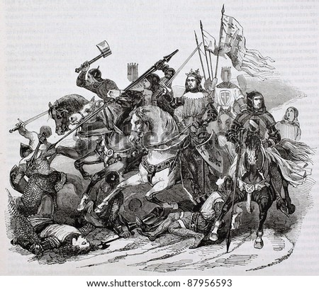 Battle of Bouvines old illustration. By unidentified author, published on Magasin Pittoresque, Paris, 1844 - stock photo
