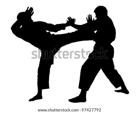 battle throw.Judo.figure in the karate fighting stance on a white background.masters of hand-to-hand fight.silhouette; graphic. - stock photo