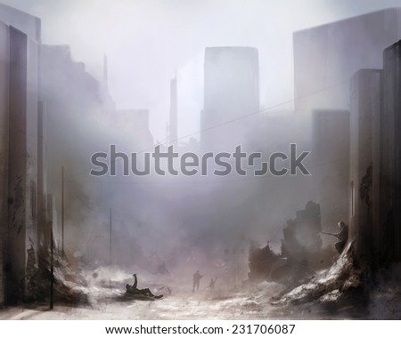 Battlefield art background.Illustration of a world war 2 daylight battle scene with soldiers and destroyed buildings background. - stock photo