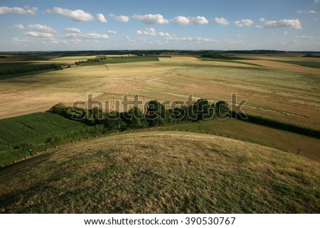Battlefield of the Battle of Waterloo (1815) near Brussels, Belgium, pictured from the top of the Lion's Mound.  - stock photo
