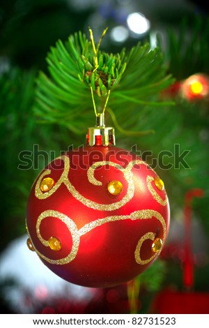 Bauble decoration on the Christmas tree - stock photo