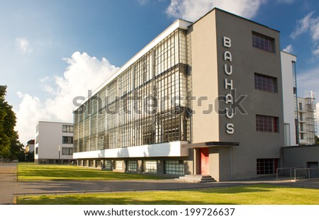 Bauhaus - complex of modern architecture on April 23, 2011, Dessau, Germany. This iconical piece of architecture was designed in 1925 by Walter Gropius and is in UNESCO - stock photo