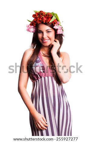 bautiful woman with tulip hair decoration - stock photo