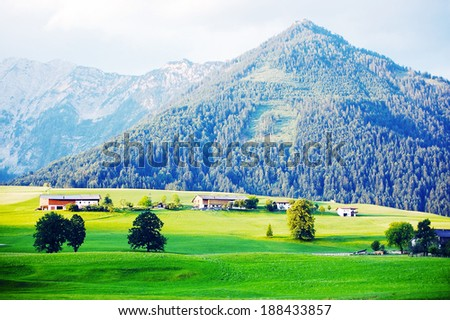 Bavarian alps mountains classical background - stock photo