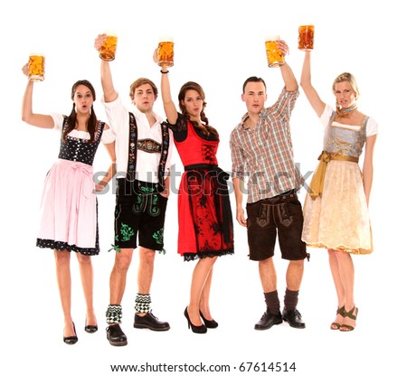 bavarian group with beer - stock photo