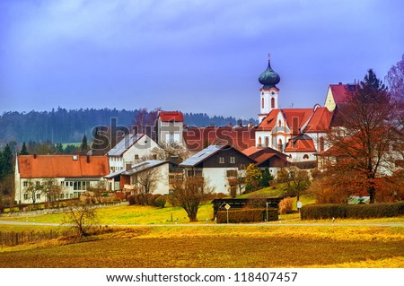 Bavarian village, Germany - stock photo