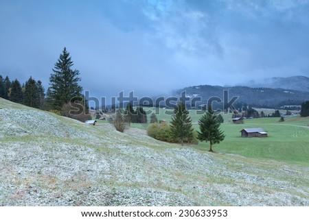 Bavarian village in winter, Bavaria, Germany - stock photo