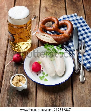 bavarian white sausage - stock photo