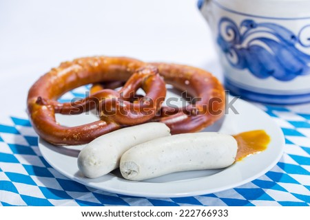 Bavarian white sausages, traditional breakfast - stock photo