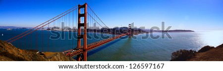 Bay Area Golden Gate Bridge Panorama - stock photo