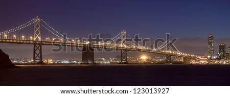 Bay Bridge between Treasure Island and San Francisco. - stock photo