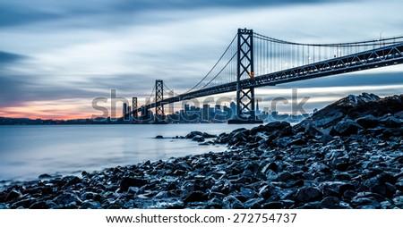 Bay Bridge in San Francisco from Treasure Island - stock photo