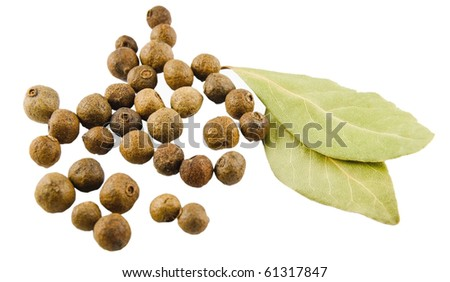 Bay leaves and fragrant pepper on white background - stock photo
