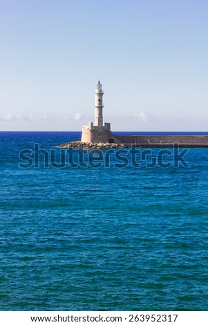 bay of Chania with Aegan sea and lighthouse at sunny summer day, Crete, Greece - stock photo