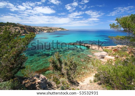 Bay of Ibiza coast line, Portinatx - stock photo