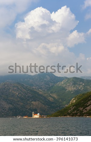 Bay of Kotor near Perast city. Island of Our Lady of The Rocks. Montenegro - stock photo