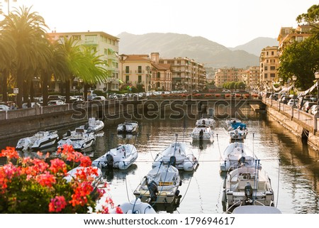 Bay of Rapallo, province of Genoa, in Liguria, northern Italy - stock photo