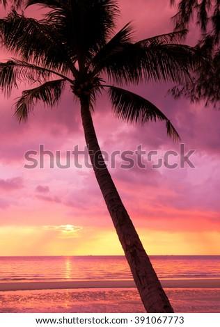 Bay View Burning Skies  - stock photo