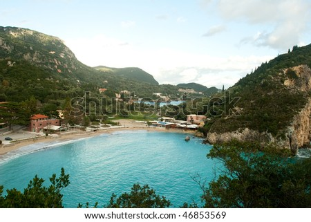 Bay with beautiful nature shot on Corfu , Greece - stock photo