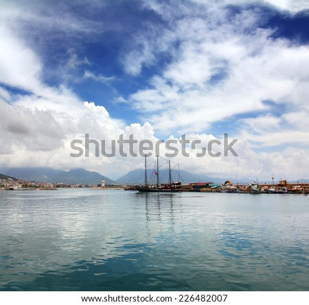 bay with boats and yachts in Alanya Turkey - stock photo