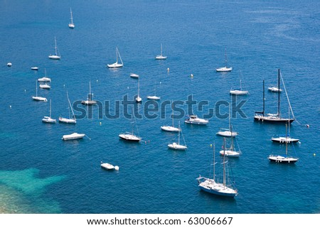 Bay with pleasure yachts in Southern France - stock photo