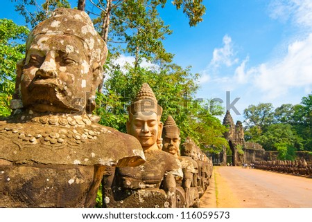 Bayon statue,siem reap ,Cambodia, was inscribed on the UNESCO World Heritage List in 1992. - stock photo