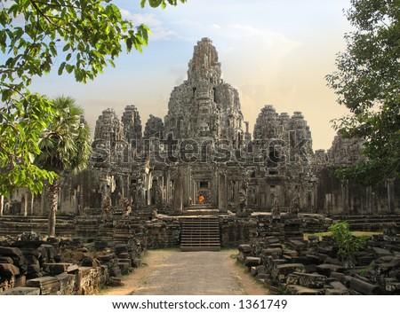 Bayon Temple at Angkor Thom, Angkor, Cambodia - stock photo