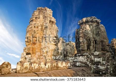Bayon temple in Angkor Thom, Siemreap, Cambodia - stock photo