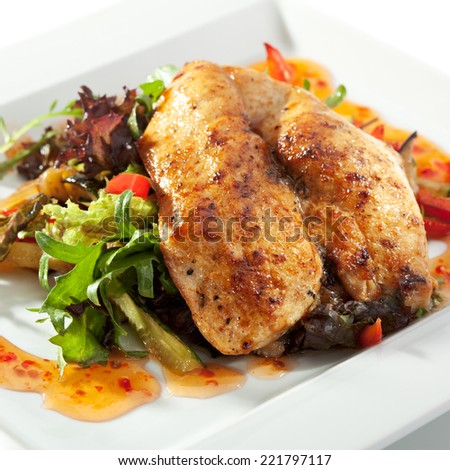 BBQ Chicken Breast with Freshness Salad and Sour Sweet Sauce - stock photo