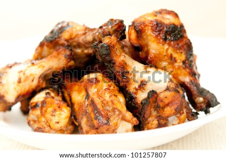 bbq chicken wings with sauce, grilled and tasty finger food - stock ...