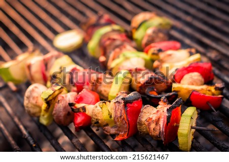 BBQ grill of meat - stock photo