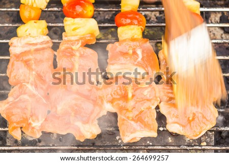 BBQ grilled chicken with the curry. - stock photo