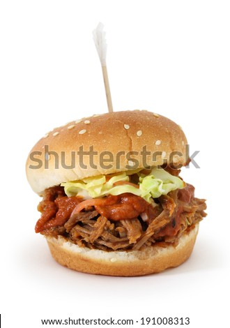 bbq pulled pork sliders isolated on white background - stock photo