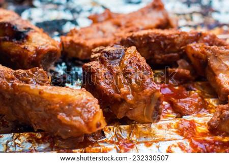 BBQ ribs  - stock photo