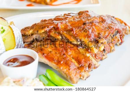 Bbq ribs steak - stock photo