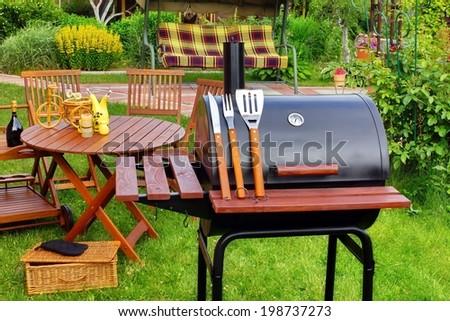 BBQ Summer Garden Party Scene - stock photo