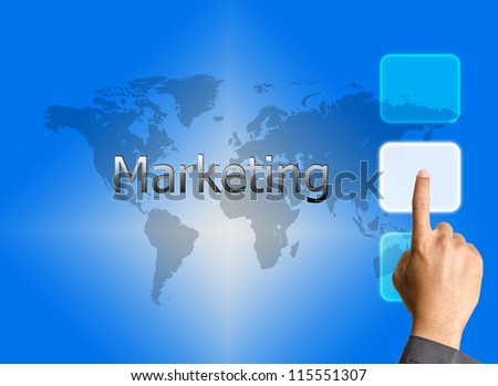 bbusinessman hand pressing Marketing button on a touch screen interface - stock photo