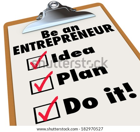 Be an Entrepreneur Checklist Own Business Self Employment - stock photo