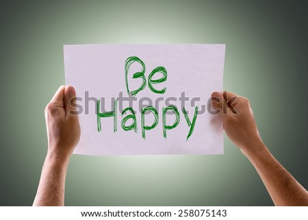 Be Happy card with green background - stock photo