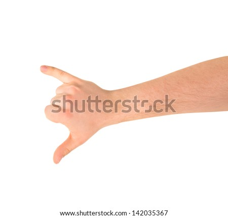 Be in touch or a call sign caucasian hand gesture isolated over white background - stock photo