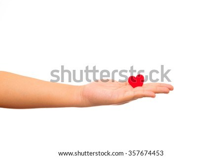 Be my Valentine, Valentines day concept. Man holding red paper heart in his hands isolated on white background - stock photo
